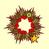 Concepto de Garland Hand Drawn Holiday Decoration del icono de la guirnalda de la Navidad Foto de archivo libre de regalías