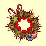 Concepto de Garland Hand Drawn Holiday Decoration del icono de la guirnalda de la Navidad Imagen de archivo libre de regalías