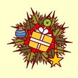 Concepto de Garland Hand Drawn Holiday Decoration del icono de la guirnalda de la Navidad Fotografía de archivo libre de regalías