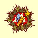 Concepto de Garland Hand Drawn Holiday Decoration del icono de la guirnalda de la Navidad Foto de archivo