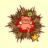 Concepto de Garland Hand Drawn Holiday Decoration del icono de la guirnalda de la Navidad Imagen de archivo