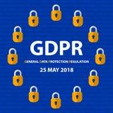 Concepto de GDPR Regulación general de la protección de datos Nueva ley de la UE a partir de 2018 stock de ilustración