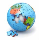 Concepto de globalización. Rompecabezas de la tierra. 3d Fotos de archivo libres de regalías