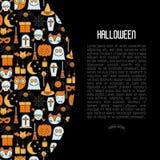 Concepto de Halloween de la historieta con la línea fina iconos Fotografía de archivo libre de regalías
