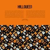 Concepto de Halloween de la historieta con la línea fina iconos Foto de archivo libre de regalías