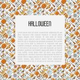 Concepto de Halloween de la historieta con la línea fina iconos Imagenes de archivo
