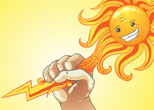 Concepto de hombre que usa energía solar Imagen de archivo
