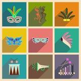 Concepto de iconos planos con carnaval largo del brasileño de la sombra Fotos de archivo libres de regalías