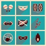 Concepto de iconos planos con carnaval largo del brasileño de la sombra Foto de archivo libre de regalías