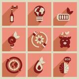 Concepto de iconos planos con ecología larga de la sombra Fotos de archivo