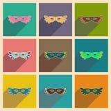 Concepto de iconos planos con la máscara larga del carnaval de la sombra Imágenes de archivo libres de regalías