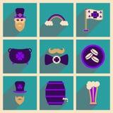 Concepto de iconos planos con la sombra larga St Patrick y x27; festival de s Foto de archivo