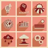 Concepto de iconos planos con peligro largo del eco de la sombra Imagen de archivo libre de regalías