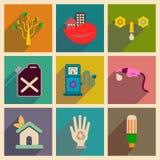 Concepto de iconos planos con seguridad larga del eco de la sombra Foto de archivo libre de regalías
