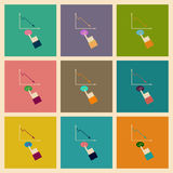 Concepto de iconos planos elegantes del diseño que crecen horario Fotos de archivo libres de regalías