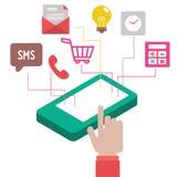 Concepto de Infographic con el teléfono móvil foto de archivo libre de regalías