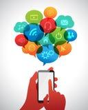Concepto de Infographic con las burbujas del discurso Foto de archivo libre de regalías