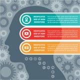 Concepto de Infographic con una cabeza humana Imágenes de archivo libres de regalías