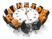 Concepto de intercambio de ideas. Vector de círculo como el reloj y butacas Foto de archivo libre de regalías