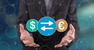 Concepto de intercambio de moneda ilustración del vector
