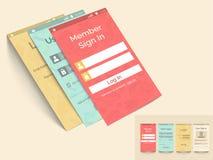Concepto de interfaz móvil con la plantilla del inicio de sesión Imagen de archivo libre de regalías