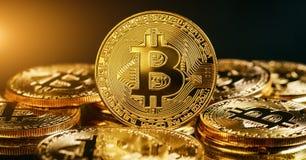 Concepto de Internet del negocio de la tecnología de la moneda de la moneda BTC del pedazo de Bitcoin Cryptocurrency Digital fotografía de archivo libre de regalías