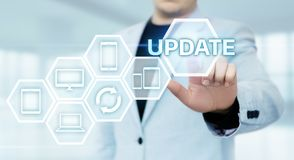 Concepto de Internet de la tecnología del negocio de la mejora del programa de computadora del software de la actualización fotografía de archivo libre de regalías
