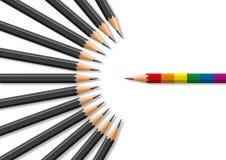 Concepto de intolerancia que hace frente a la comunidad homosexual con para el símbolo de lápices stock de ilustración