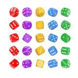 Concepto de juego del casino Fije de juego multicolor cortan los cubos en cuadritos en la posición de Differetn representación 3d foto de archivo