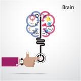 Concepto de la abertura del cerebro Diseño creativo del logotipo del vector del extracto del cerebro Fotografía de archivo libre de regalías