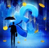 Concepto de la acción de Financial Economy Currency del hombre de negocios Imagen de archivo libre de regalías