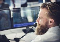 Concepto de la acción de Working Finance Trading del hombre de negocios Fotografía de archivo libre de regalías