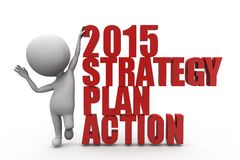 concepto de la acción del plan de la estrategia del hombre 3d Fotografía de archivo libre de regalías