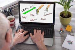 Concepto de la acción en una pantalla del ordenador portátil Fotografía de archivo libre de regalías