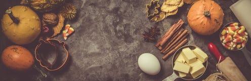 Concepto de la acción de gracias - ingredientes y símbolos de la hornada Foto de archivo