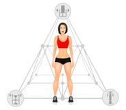 Concepto de la aptitud con la mujer del ajuste en ropa de deportes Muchacha muscular de la historieta de los modelos Mujer con un ilustración del vector