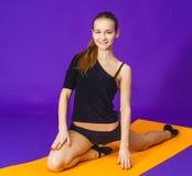 Concepto de la aptitud, del deporte, del entrenamiento y de la forma de vida - mujer sonriente que hace ejercicios en la estera e Fotos de archivo