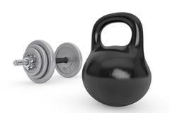 Concepto de la aptitud. Kettlebell y pesa de gimnasia Imagen de archivo libre de regalías
