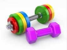 Concepto de la aptitud. Pesos de la pesa de gimnasia Fotografía de archivo