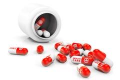 Concepto de la atención sanitaria. Botella médica con las píldoras Imágenes de archivo libres de regalías