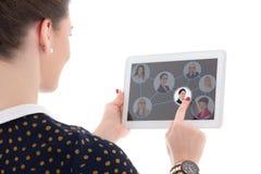Concepto de la búsqueda de trabajo - mujer que presiona iconos con los retratos de la gente Fotografía de archivo libre de regalías