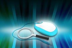 Concepto de la búsqueda Lupa con el ratón del ordenador Foto de archivo