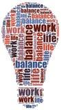 Concepto de la balanza de la vida del trabajo Ejemplo de la nube de la palabra Fotografía de archivo