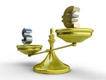 Concepto de la balanza del dólar y del euro Imagen de archivo