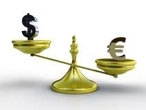Concepto de la balanza del dólar y del euro Fotografía de archivo