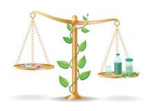 Concepto de la balanza del libra de la medicina alternativa stock de ilustración