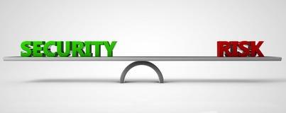 concepto de la balanza del riesgo para la seguridad Imágenes de archivo libres de regalías