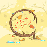 Concepto de la bandera de Autumn Time Yellow Tree Fall Foto de archivo