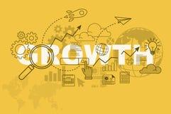 Concepto de la bandera de la página web del crecimiento con la línea fina diseño plano ilustración del vector