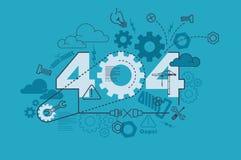 concepto de la bandera del sitio web de 404 errores con la línea fina diseño plano libre illustration